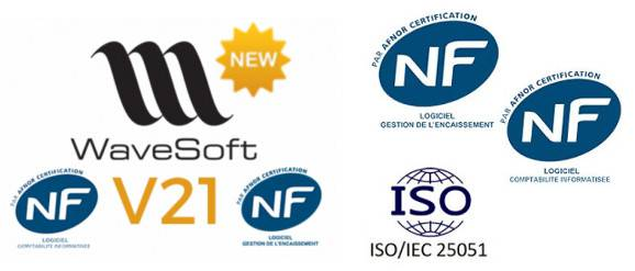 Logiciel gestion commerciale, caisse, comptabilité certifié NF 203 / NF 525- Conforme article-88, loi anti fraude à la TVA - Wavesoft V21