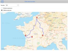 Carte des tournée prospect / client sur tablette