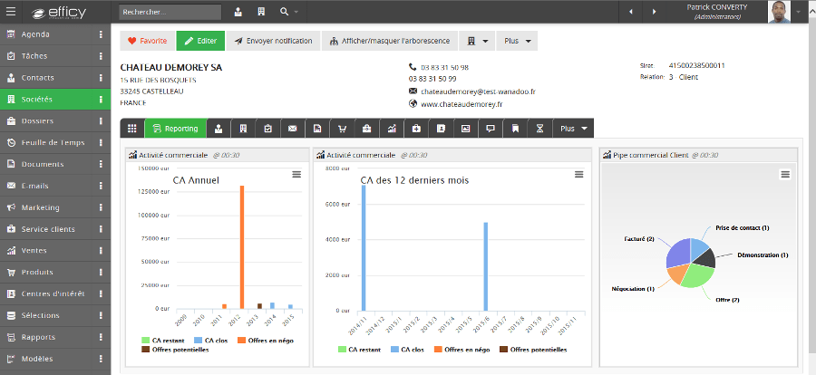 Rapports et statistiques HighCharts Efficy CRM