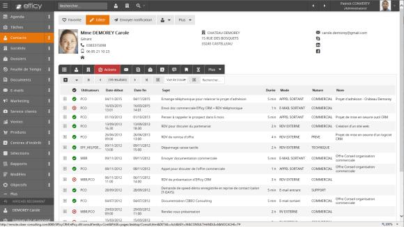 Efficy CRM, logiciel de gestion relation client